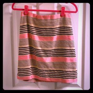 Coral burlap & black striped textured pencil skirt